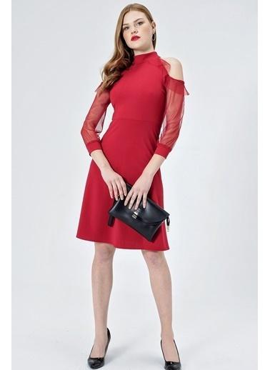 Jument Tül Garnili Kolları Volanlı Kiloş Elbise -Kırmızı  Kırmızı